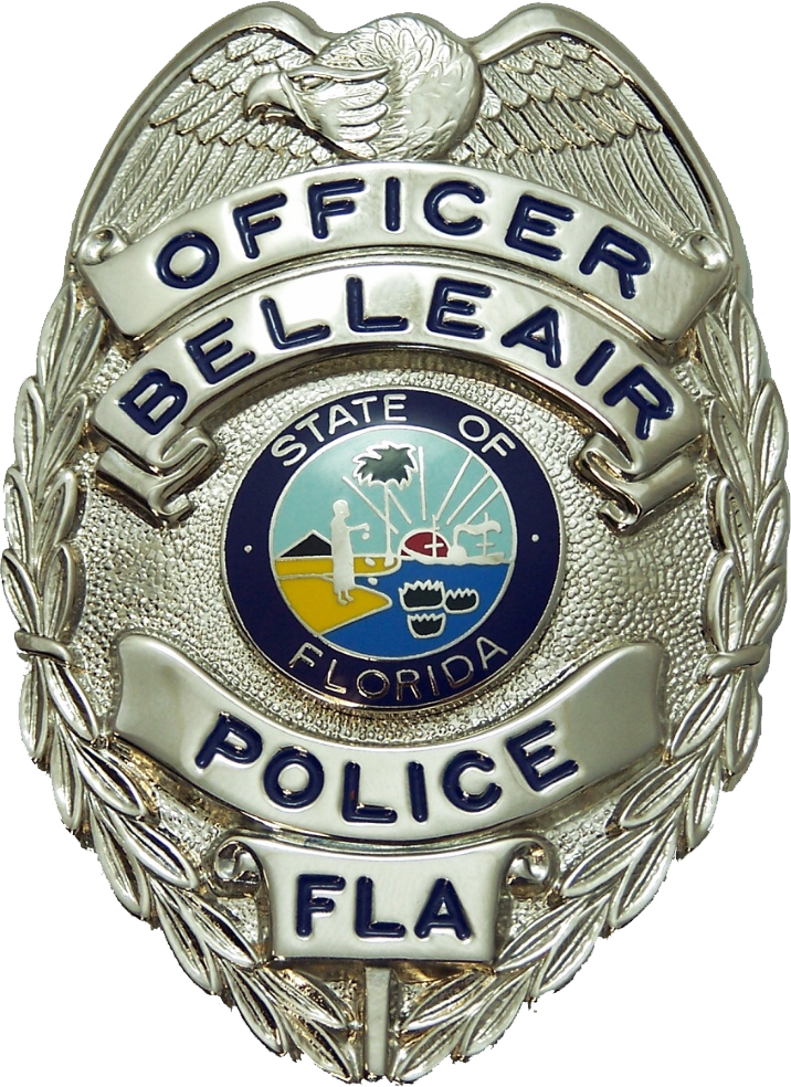 "Silver badge with an eagle on top and the Florida seal in the middle. Badge reads ""Officer Bellea"