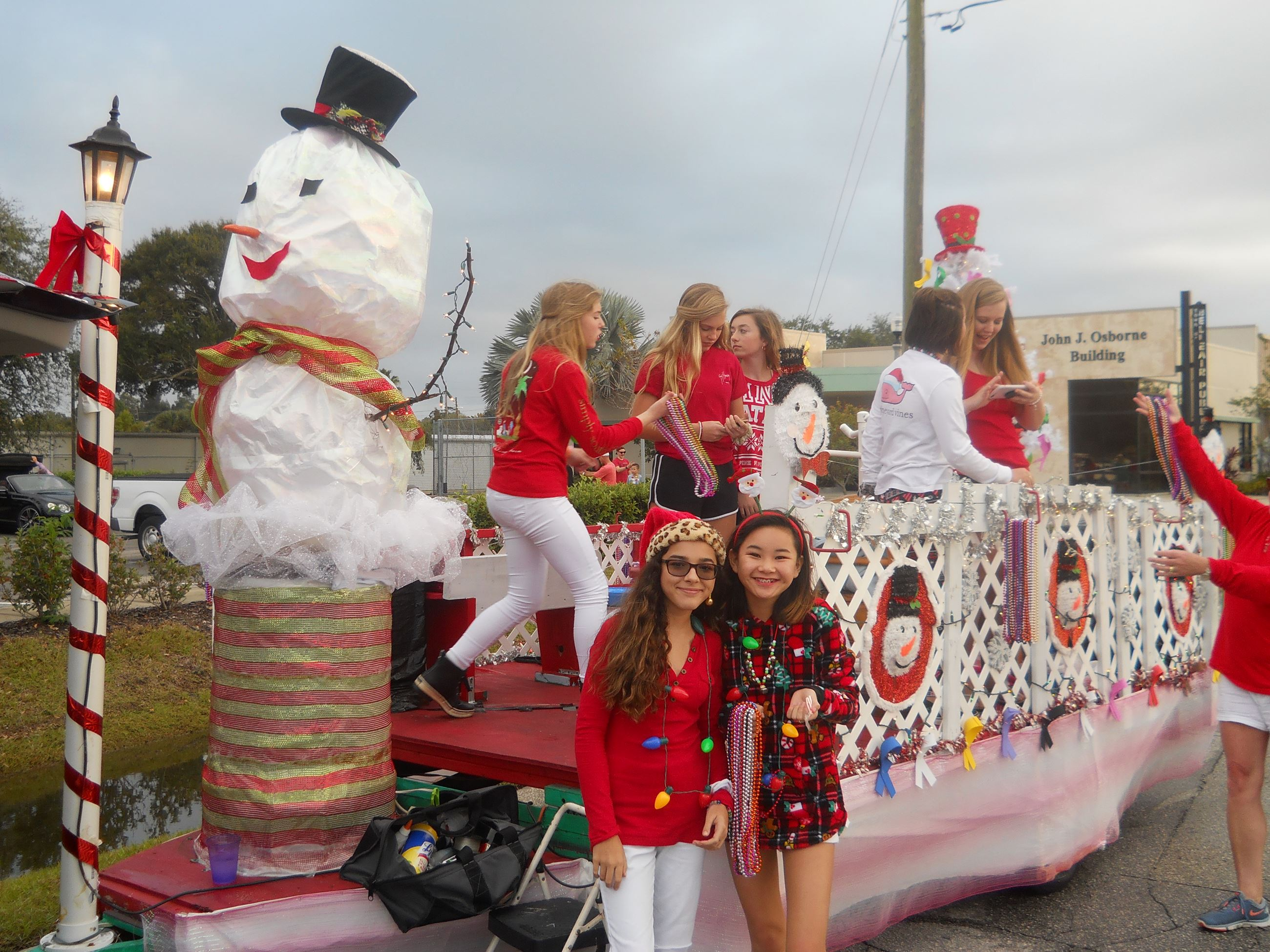 Snowman and friends holiday parade float