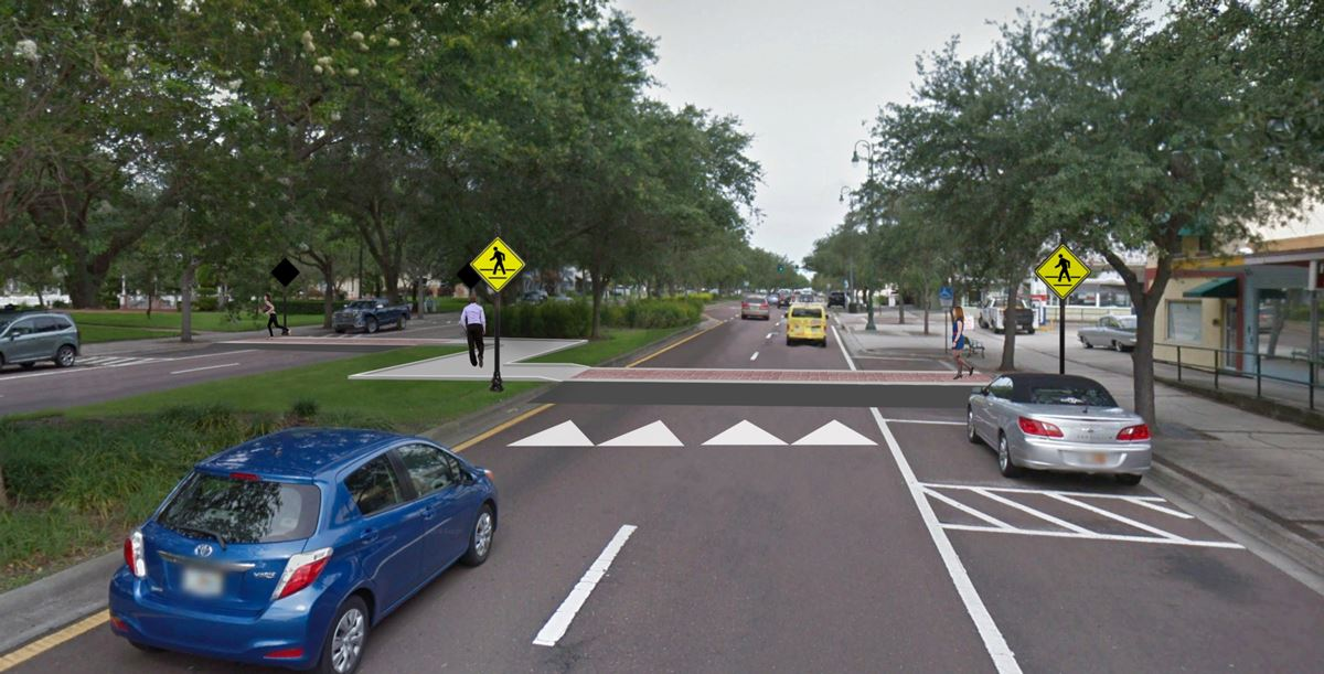 A rendering of the updated West Bay Drive, complete with a crosswalk, sidewalks, and new road paint