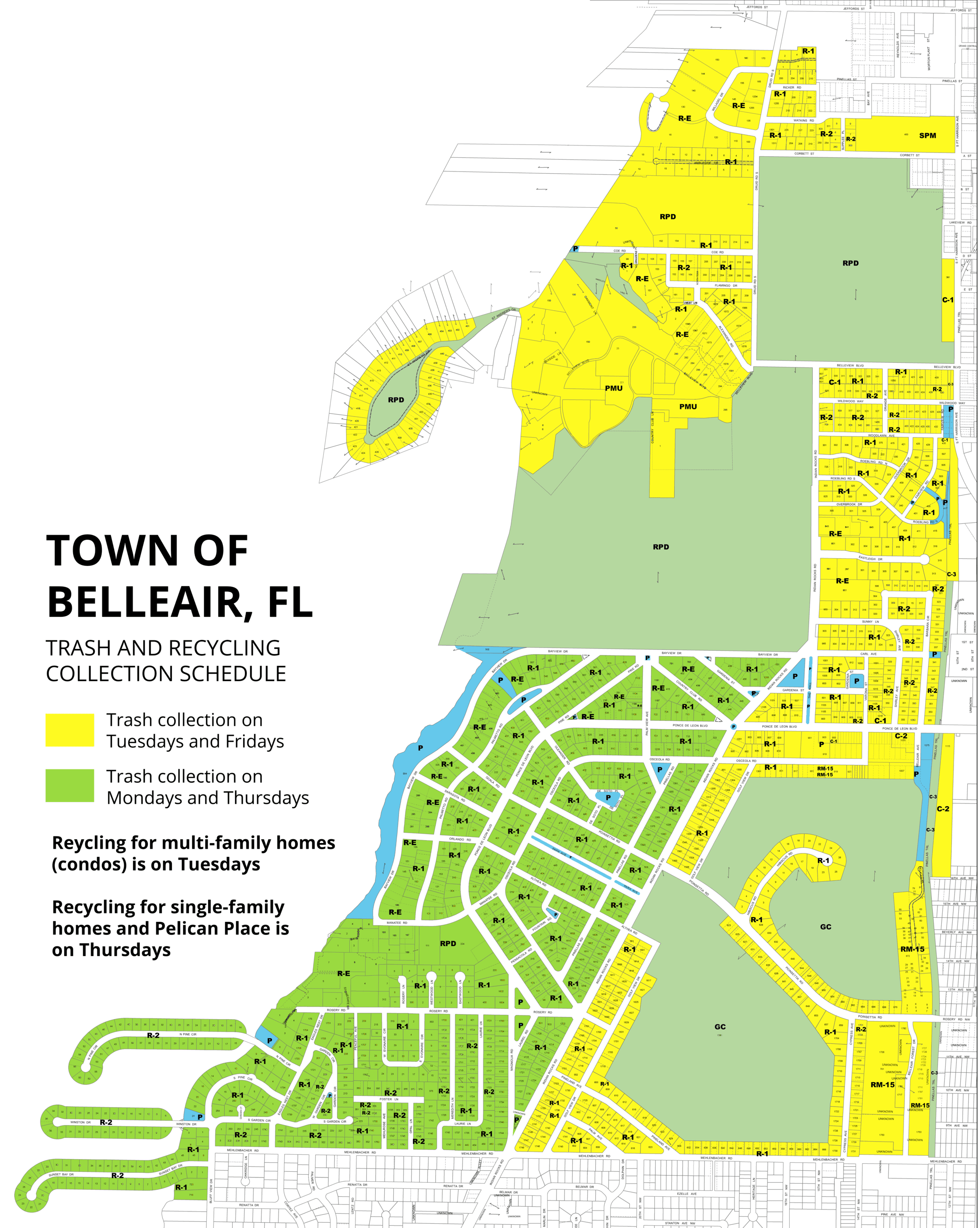Download an accessible PDF of Belleair's trash and recycling schedule map