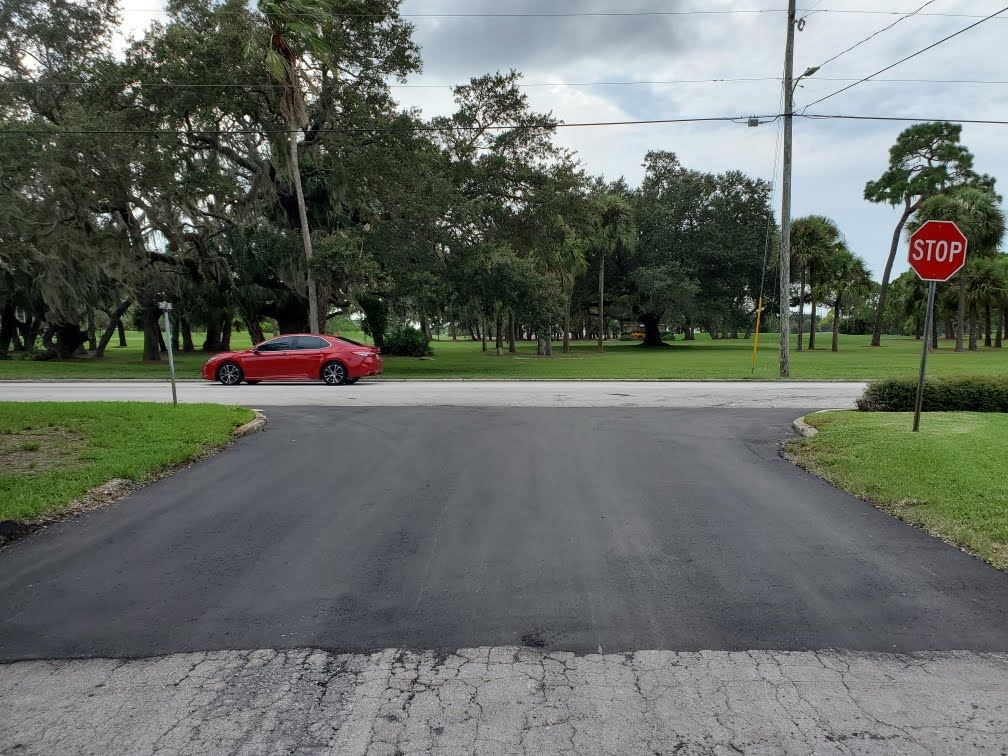 A new layer of asphalt was added to the intersection of Indian Rocks Road and Sunny Lane