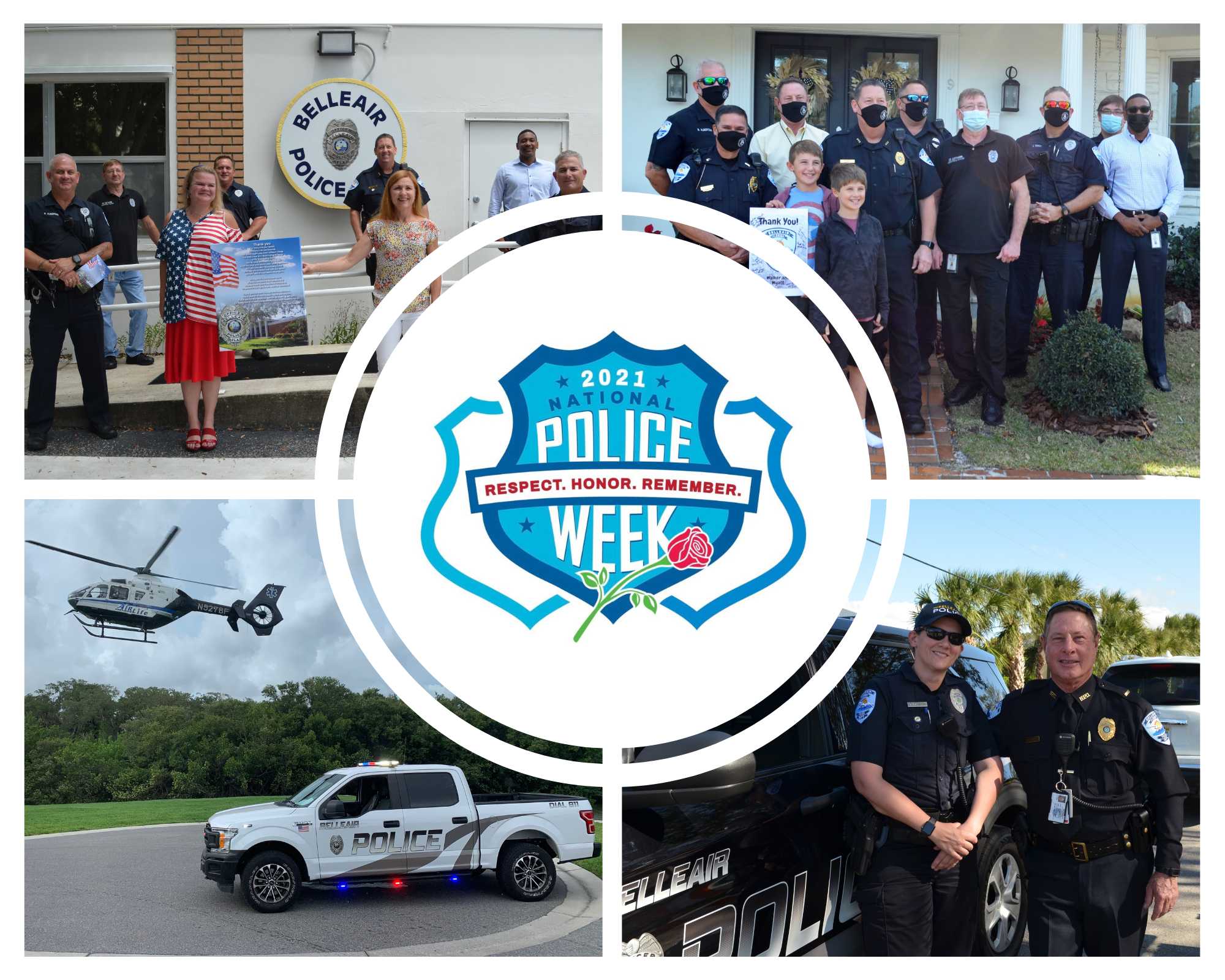 A collage of police officer photos with a logo: 2021 National Police Week. Respect. Honor. Remember.