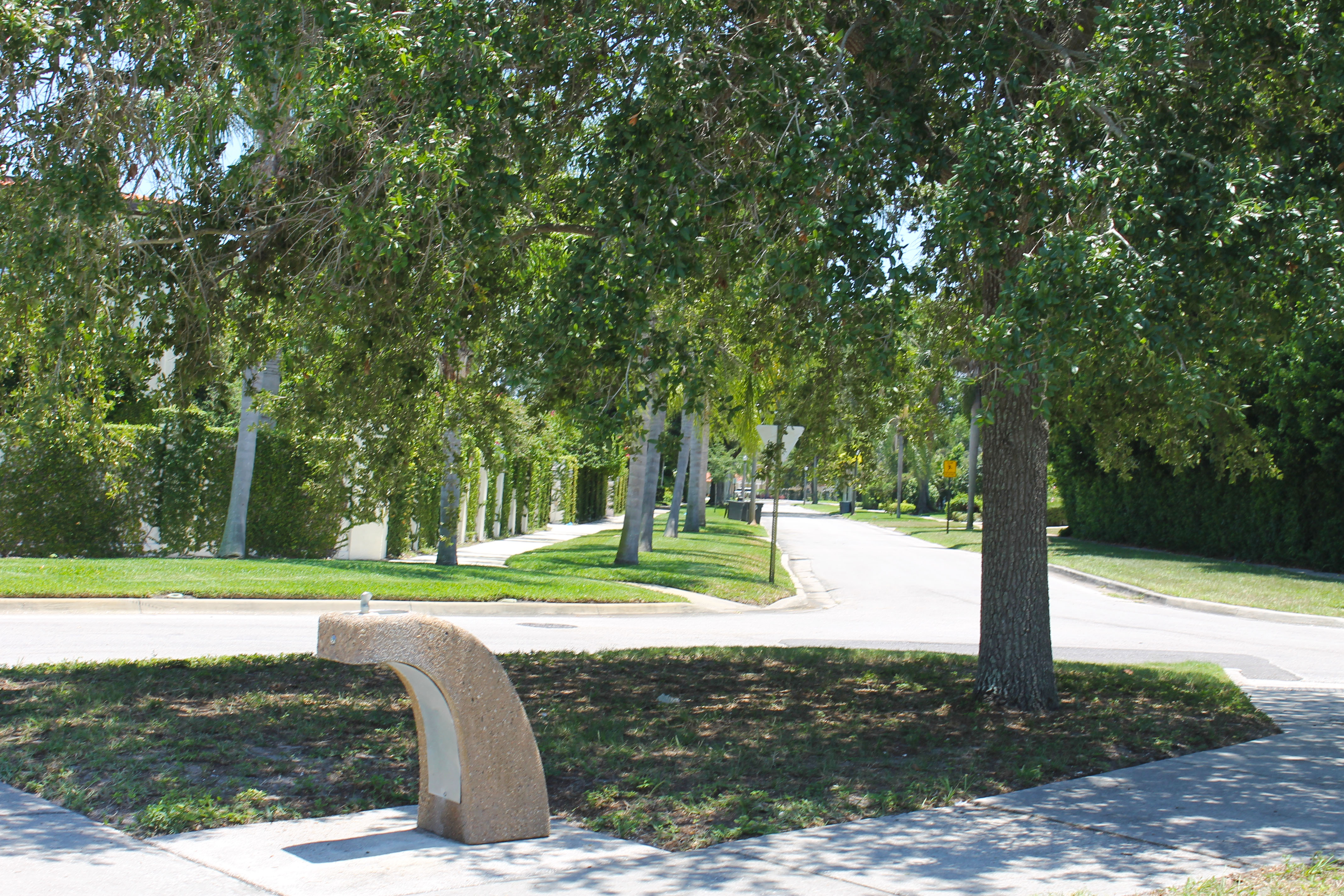The water fountain in Palmview Park next to the sidewalk with a tree in the background