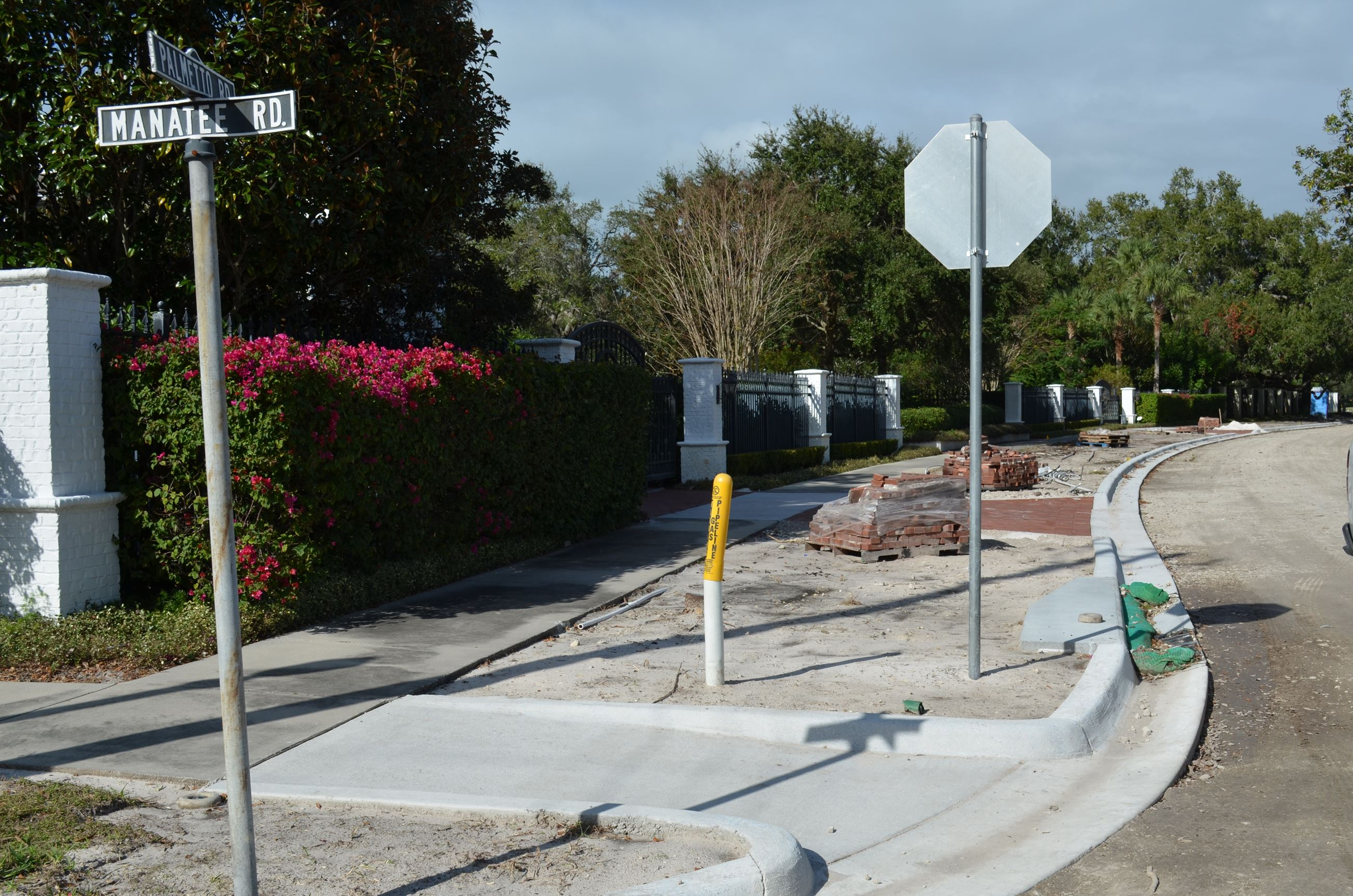 The intersection of Bayview Dr. and Manatee Rd. under construction. New sidewalks, ramps, and curbs