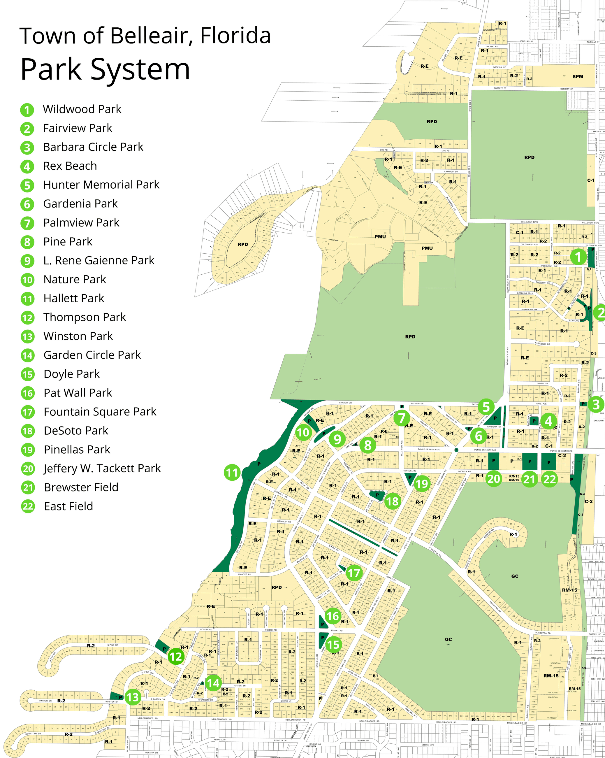 Click to download a PDF of Belleair's parks, displayed over a map of Belleair.