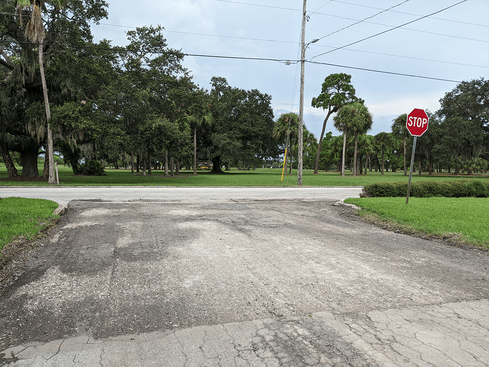An intersection along Indian Rocks Road has been milled, meaning a layer of asphalt was removed