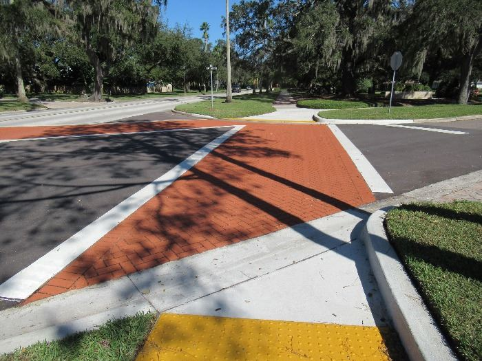 Indian Rocks Road and Hunter Memorial Park are now connected with reflective crosswalks