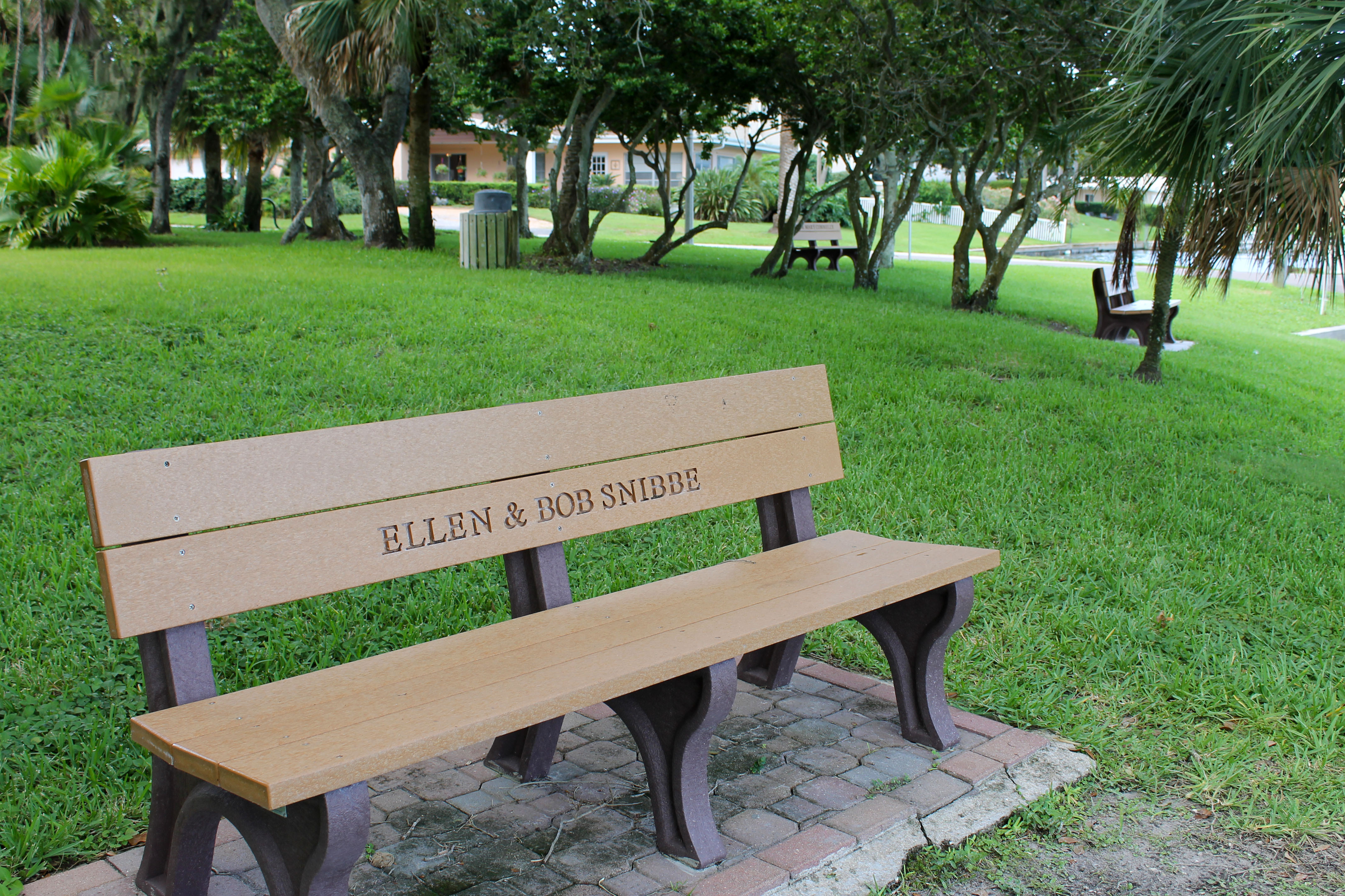 "A bench along the path in Thompson Park that is engraved ""Ellen & Bob Snibbe"""
